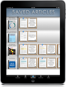 Saved Journal Articles | BrowZine iPad App Screenshot