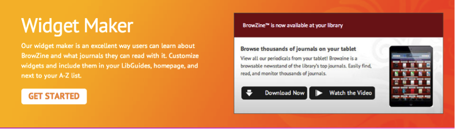BrowZine Library promotional Widget Maker