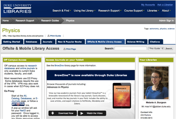 Duke University Physics LibGuide featuring BrowZine