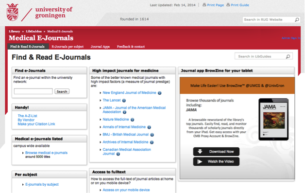 University of Groningen e-Journals page featuring BrowZine