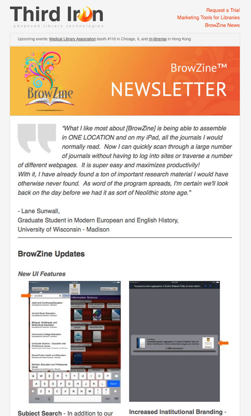 BrowZine Newsletter May Screenshot