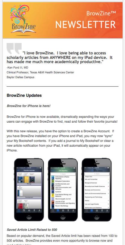 BrowZine Newsletter June