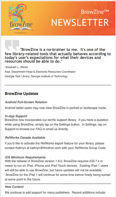 BrowZine Newsletter - August 2014