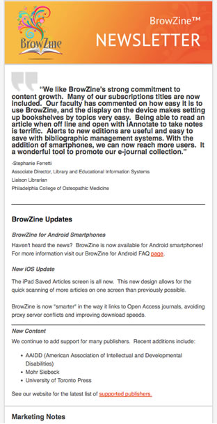 BrowZine December Newsletter