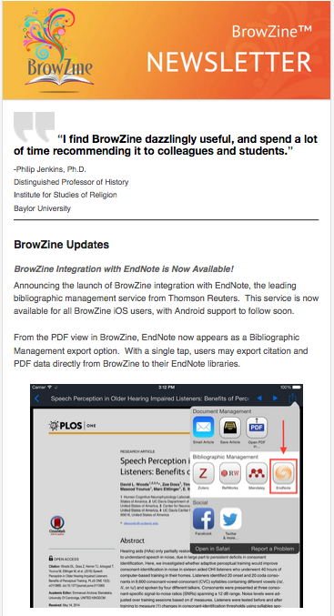 BrowZine Newsletter April 2015
