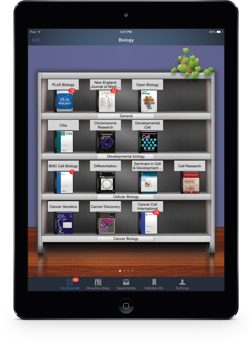 iPad Air BrowZine MyBookshelf
