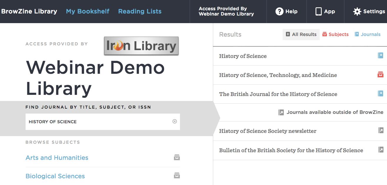 BrowZine Webinar Demo Library
