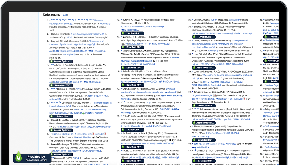 LibKey Nomad connects your browser with the library. Here's an example showing a Wikipedia page's references connecting to library copies of articles.