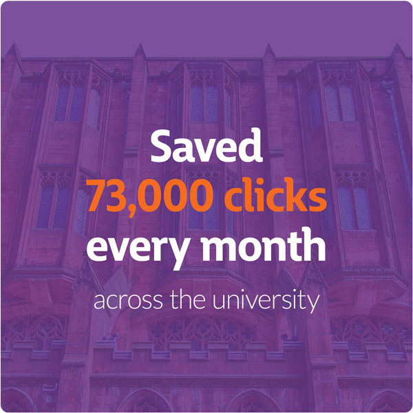 Saved 73,000 clicks every month across the university